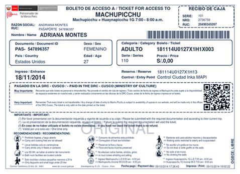 Impresion Biglietto Machu Picchu