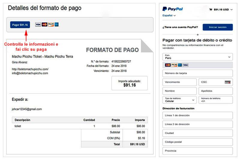 Fattura biglietto Paypal Machu Picchu